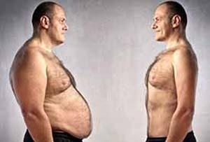 elhízott és sportos férfi